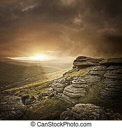 Dramatic Wild Landscape, Dartmoor, UK.