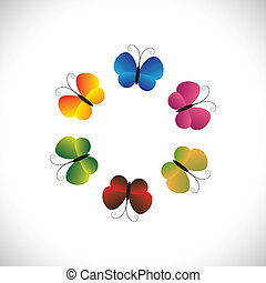 Concept vector graphic- beautiful colorful butterfly icons as a ring. The illustration shows pretty butterflies in red, orange, yellow, green & pink colors arranged as a circle