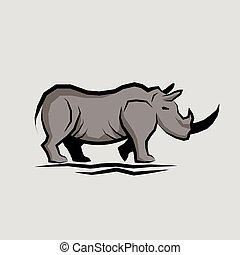 Wild Rhino Vector illustration.
