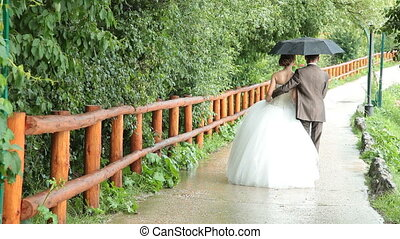 Wedding couple walking away under an umbrella