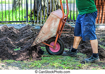 Emptying wheelbarrow - Wheelbarrow full of soil being...