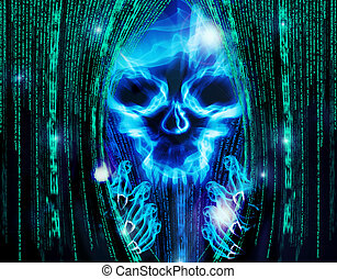 virus - hacker attack background with skull