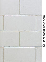 Background of brick wall texture - Square white brick wall...