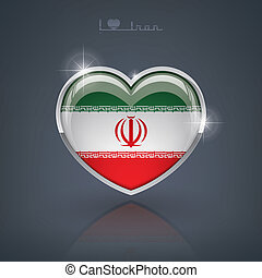 Iran - Glossy heart shape flags of the Worlds: Islamic...