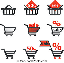 Discount icons with shopping cart and trolley