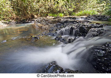 the flow of the river - a very fresh river at sandakan,...