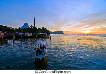 majestic mosque and the vilaage - beautiful sunrise at...