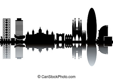 Barcelona skyline - black and white vector illustration