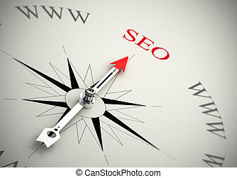 Web Marketing, SEO - Compass with arrow pointing to SEO, 3D...