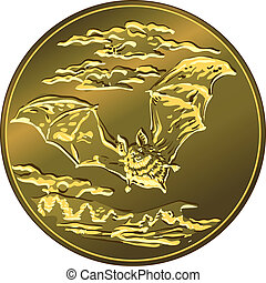 vector gold money coin with flying bat - Gold money coin...