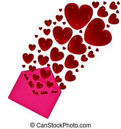 fluga, hjärtan, kuvert, ute