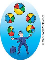 Pie Chart Juggler - Vector Illustration of Businessman...
