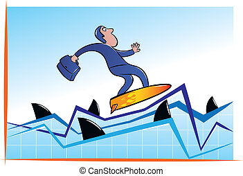 Surfing with sharks - Vector illustration of businessman...