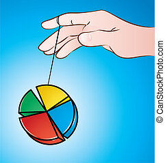 Yo-yo - vector illustration of a hand playing with pie chart...