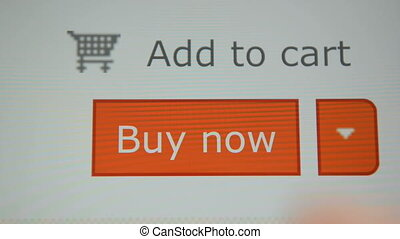 Online shopping with tablet pc - Online shopping. Finger...