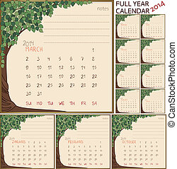 2014 year calendar - months separate in green tree frames