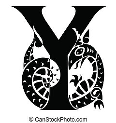capital letter Y - decorated with gargoyle