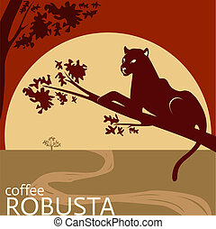 Robusta coffee package tag design - concept for company