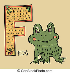 F for frog - folk russian lubok style alphabet