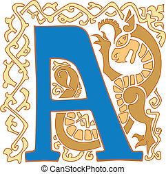 capital letter A - color gargoyle ornate letter