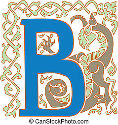 capital letter B - color gargoyle ornate letter