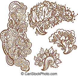 henna tattoo - set of floral ornaments