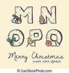 retro christmas alphabet - n, m, o, p, q