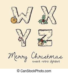 retro christmas alphabet - w, x, y, z