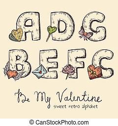 retro Valentine alphabet - a, b, c, d, e, f, g