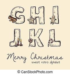 retro christmas alphabet - g, h, j, k, l, i