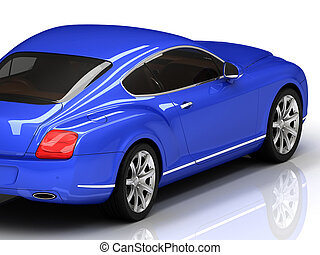 Premium blue car is isolated on a white reflective surface