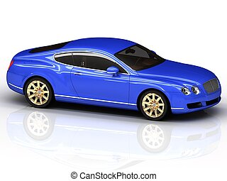 Premium blue car with gold wheels is isolated on a white...