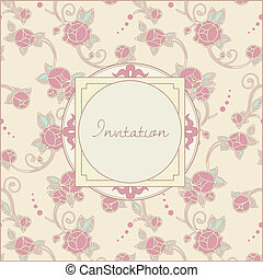 invitation card in retro style - vintage roses template for...