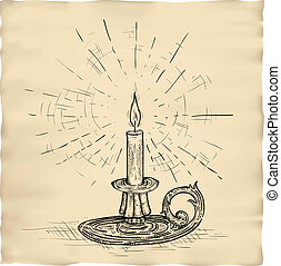 retro engraving of candle on parchment