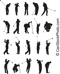 20 golf poses silhouette