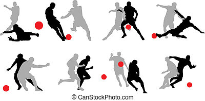 8 groups of soccer player poses.
