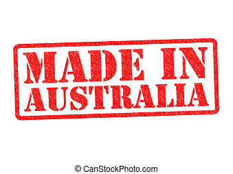 MADE IN AUSTRALIA Rubber Stamp over a white background.