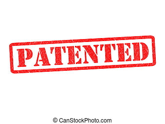 PATENTED Rubber Stamp over a white background