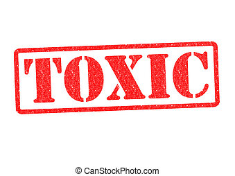 TOXIC Rubber stamp over a white background.