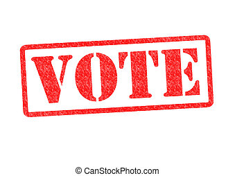 VOTE Rubber Stamp over a white background