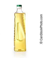 sunflower oil  - Yellow sunflower oil in a plastic bottle