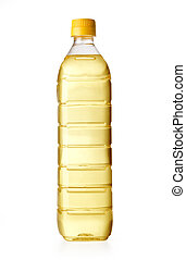 oil bottle - Yellow sunflower oil in a plastic bottle