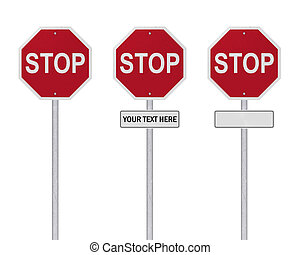 STOP Sign - Isolated - Blank (=> YOUR TEXT HERE)