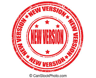 New version-stamp - Grunge rubber stamp with text new...