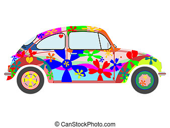 Hippie car - Colorfur retro hippie car