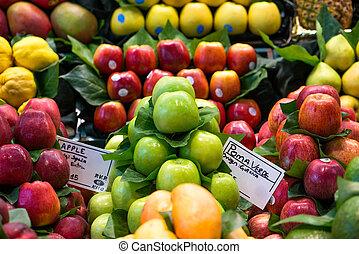 variety of fruits at the market