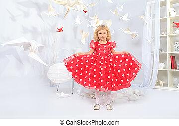 strange room - Cute little girl standing in a white room...