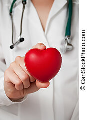 Heart in doctor's hand - Red heart in the hand of a...