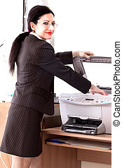Secretary Printing Documents - Secretary using...