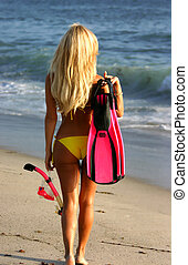 Blonde Woman going Snorkeling in San Clemente